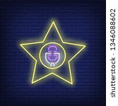 star singer neon sign. glowing... | Shutterstock .eps vector #1346088602