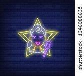 girl singer neon sign. glowing...   Shutterstock .eps vector #1346088635