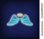 angel wings neon sign. glowing... | Shutterstock .eps vector #1346089055