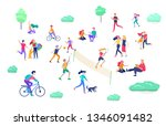 people spending time  relaxing... | Shutterstock .eps vector #1346091482