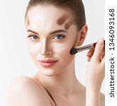 make up woman face. closeup... | Shutterstock . vector #1346093168