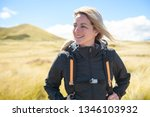 the successful woman mountain...   Shutterstock . vector #1346103932