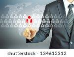businessman touching human...   Shutterstock . vector #134612312