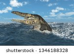 Mosasaur Tylosaurus in the stormy sea Computer generated 3D illustration