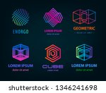vector set of linear abstract... | Shutterstock .eps vector #1346241698
