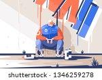 man finishing draw new graffiti ... | Shutterstock .eps vector #1346259278