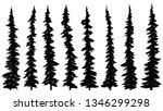 set of vector black silhouettes ... | Shutterstock .eps vector #1346299298