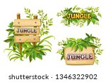 cartoon game panels in jungle...