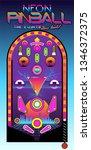 neon pinball play field 1980s... | Shutterstock .eps vector #1346372375