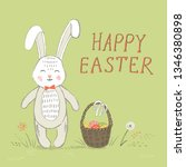 happy easter. hand drawn cute... | Shutterstock .eps vector #1346380898