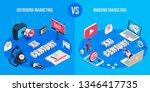 outbound and inbound marketing. ...   Shutterstock . vector #1346417735