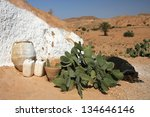 Old house and cactus in Tunisia - stock photo