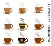 in a set of 9 cups of coffee in ... | Shutterstock .eps vector #1346462945