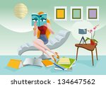 elegant woman sitting on a... | Shutterstock .eps vector #134647562
