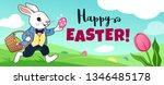 Stock vector easter bunny rabbit running in field carrying basket full of candy eggs eggs hidden in grass 1346485178