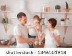 happy family are drinking milk... | Shutterstock . vector #1346501918