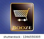 golden badge with shopping... | Shutterstock .eps vector #1346550305