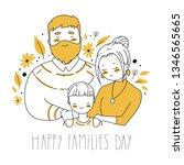 happy family s day. cartoon... | Shutterstock .eps vector #1346565665