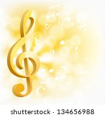 golden musical key with notes... | Shutterstock .eps vector #134656988