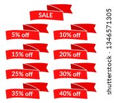 set of red sale ribbons with...   Shutterstock . vector #1346571305