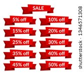 set of red sale ribbons with... | Shutterstock . vector #1346571308
