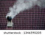chimney fuming by wood stove | Shutterstock . vector #1346590205
