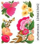peony flowers illustration set   Shutterstock . vector #1346615642