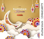 ramadan kareem banner with moon ... | Shutterstock .eps vector #1346616875