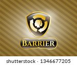 gold shiny emblem with brain... | Shutterstock .eps vector #1346677205