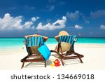 couple on a tropical beach at... | Shutterstock . vector #134669018