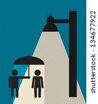 couple in rainy night | Shutterstock .eps vector #134677922