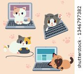 Stock vector cute character cats with computer or laptop 1346797382