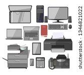 office work equipment devices ...   Shutterstock . vector #1346821022
