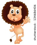 illustration of a lion waving... | Shutterstock .eps vector #134686406