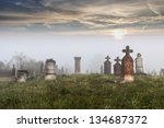 Old Tombstones In Abandoned Ol...
