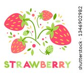 vector red ripe strawberry card....   Shutterstock .eps vector #1346902982