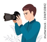 photograph holding photo camera ... | Shutterstock .eps vector #1346910842
