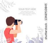 photograph holding photo camera ... | Shutterstock .eps vector #1346910845