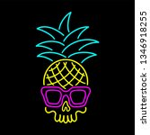 Color Neon Skull Pineapple With ...