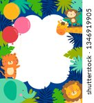 cute jungle animals and... | Shutterstock .eps vector #1346919905
