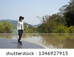 traveling asian woman at the... | Shutterstock . vector #1346927915