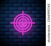 lilac pink neon sign on brick... | Shutterstock .eps vector #1346990765