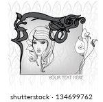 vector illustrated greeting... | Shutterstock .eps vector #134699762