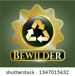 gold emblem with recycle icon... | Shutterstock .eps vector #1347015632