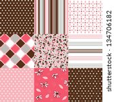 seamless patterns with fabric... | Shutterstock .eps vector #134706182