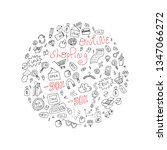 doodle online shopping circle...   Shutterstock .eps vector #1347066272