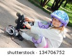 four year old child putting on... | Shutterstock . vector #134706752