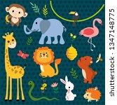 Stock vector cute animal set 1347148775