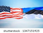 flags of estonia and the usa... | Shutterstock . vector #1347151925