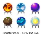 crystal orbs with symbols of...